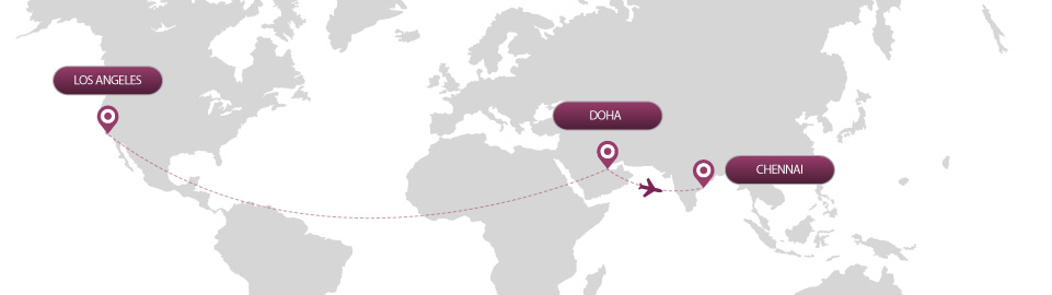 image of route map for flights from los angeles to chennai