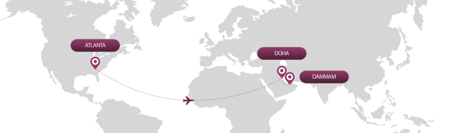image of route map for flights from atlanta to dammam