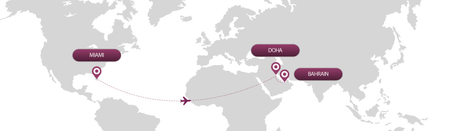 image of route map for flights from miami to bahrain