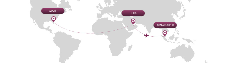 image of route map for flights from miami to kuala lumpur