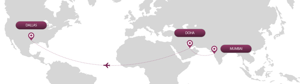 image of route map for flights from mumbai to dallas