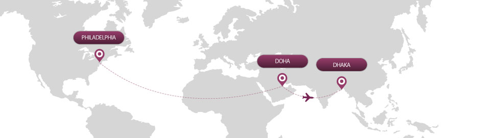 image of route map for flights from philadelphia to dhaka