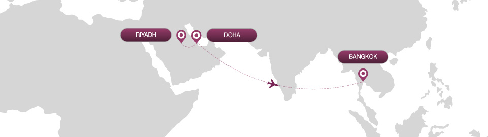 image of route map for flights from riyadh to bangkok