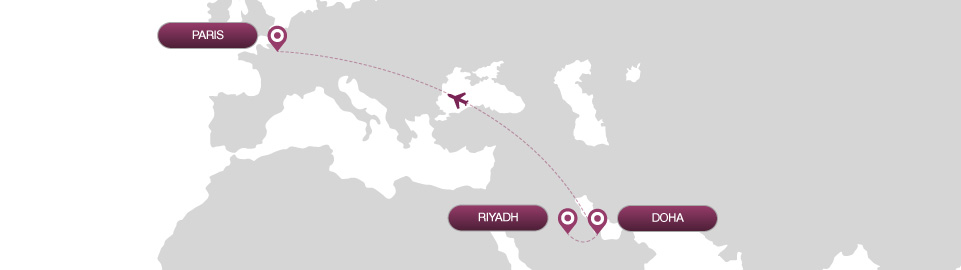 image of route map for flights from riyadh to paris