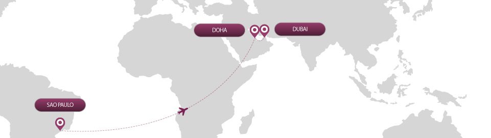 image of route map for flights from sao paulo to dubai