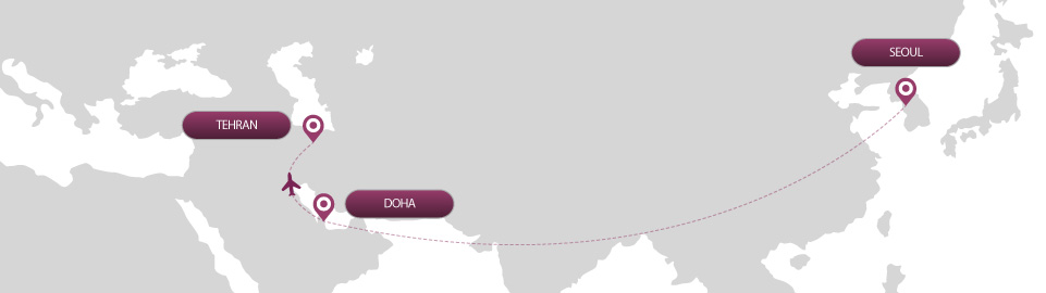 image of route map for flights from seoul to tehran