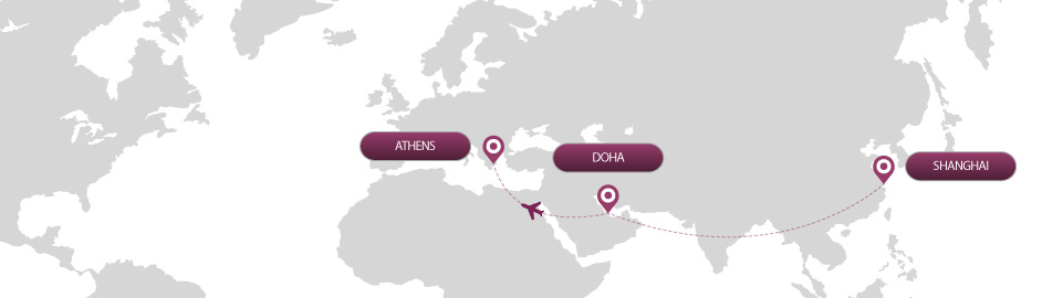 image of route map for flights from shanghai to athens