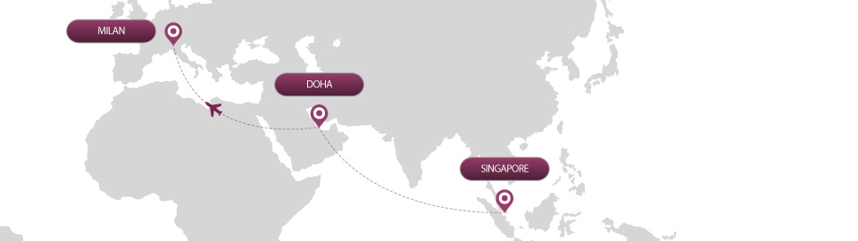 image of route map for flights from singapore to milan