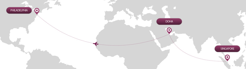 image of route map for flights from singapore to philadelphia