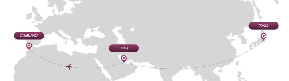 image of route map for flights from tokyo to casablanca