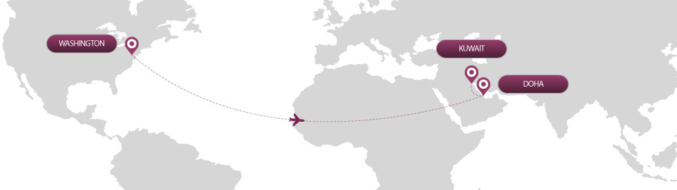 image of route map for flights from washington to kuwait
