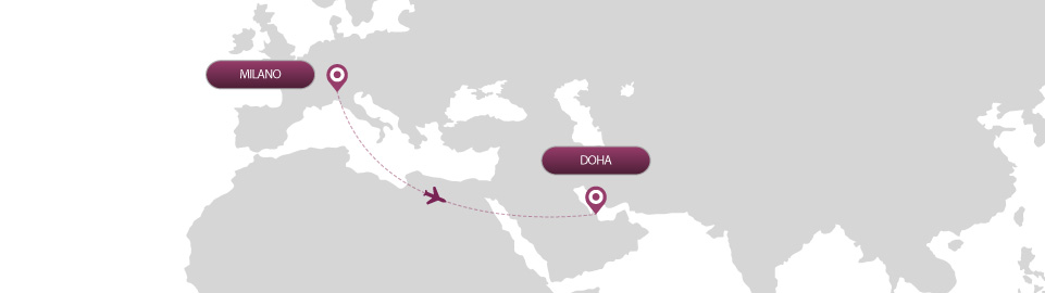 image of route map for flights from milan to doha