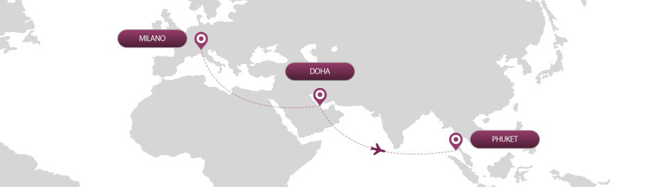image of route map for flights from milan to phuket