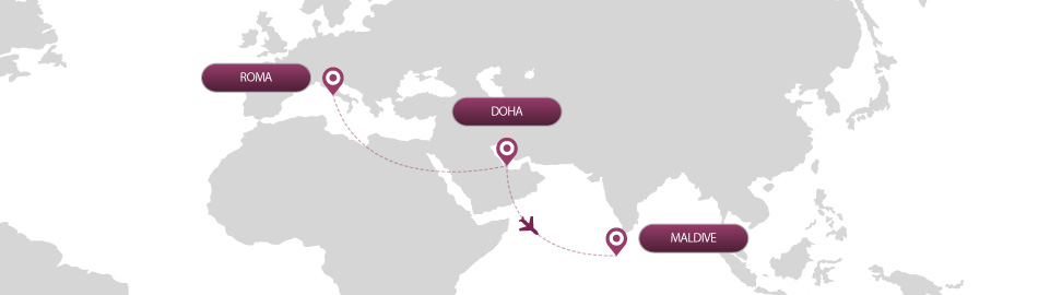 image of route map for flights from roma to maldive