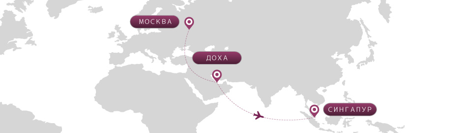 image of route map for flights from moscow to singapore