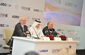 Qatar Airways Group Chief Executive, His Excellency Mr. Akbar Al Baker, hosted a press conference in Doha for more than 150 international media, for the inauguration of the world's first A350 XWB. Joining Mr. Al Baker on the head table were Mr. Didier Evrard (left), Airbus Executive Vice President Head of Programmes and Mr. Eric Schulz (right), Rolls-Royce President of Civil Large Engines.