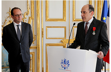 His Excellency Mr. Akbar Al Baker delivers a speech upon receiving the prestigious Officier de la Légion d'Honneur at a private ceremony at Elysee Palace in Paris, France.