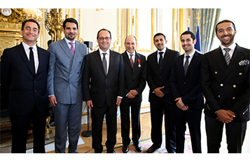 Special Guests in attendance at an official ceremony for His Excellency Mr. Akbar Al Baker at Elysee Palace in Paris, France. [From Left to Right:] France's Ambassador to the State of Qatar, His Excellency Mr. Eric Chevallier; The State of Qatar's Ambassador to France, His Excellency Sheikh Mishaal bin Hamad Al-Thani; President of the Republic of France, Mr. Francois Hollande; Qatar Airways GCEO, His Excellency Mr. Akbar Al Baker; Mr. Hamad Al Mannai and Mr. Hussain and Mr. Mohammed Al Baker.