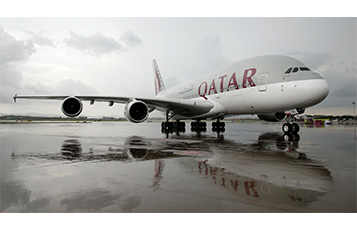 Qatar Airways' Airbus A380 pictured upon arrival at Guangzhou International Airport.