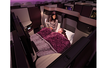 QSuite features the industry's first-ever double bed available in Business Class