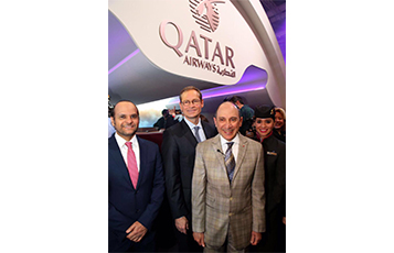 Pictured at the reveal ceremony are Qatar Airways Group Chief Executive, H.E. Mr. Akbar Al Baker, H.E. Sheikh Saoud Bin Abdulrahman Al-Thani, Ambassador of the State of Qatar in Germany (left) and the Mayor of Berlin, Mr. Michael Müller (centre)