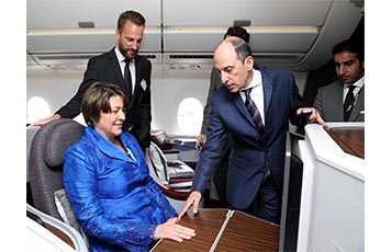 Qatar Airways GCEO, His Excellency Mr. Akbar Al Baker (pictured right) shows Ms. Violeta Bulc, European Commissioner for Transport, the airline's Business Class seats on board Qatar Airways' new A350 XWB.