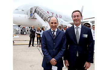 Qatar Airways GCEO, His Excellency Mr. Akbar Al Baker (pictured left) with Airbus' President and CEO Fabrice Brégier in front of Qatar Airways' A380 aircraft on display during Paris Airshow 2015.