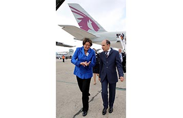 Qatar Airways GCEO, His Excellency Mr. Akbar Al Baker (pictured right) with Ms. Violeta Bulc, European Commissioner for Transport, after touring the airline's new A350 XWB at the Paris Airshow.