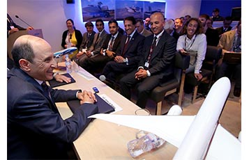 Qatar Airways Group Chief Executive, His Excellency Mr. Akbar Al Baker addresses the media at a joint press conference held on the opening day of the 2015 Paris Airshow.