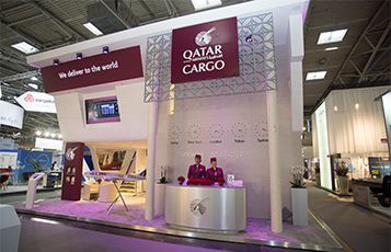 The Qatar Airways Cargo two-storey stand at the Air Cargo Europe trade show in Munich hosted global cargo customers and business partners