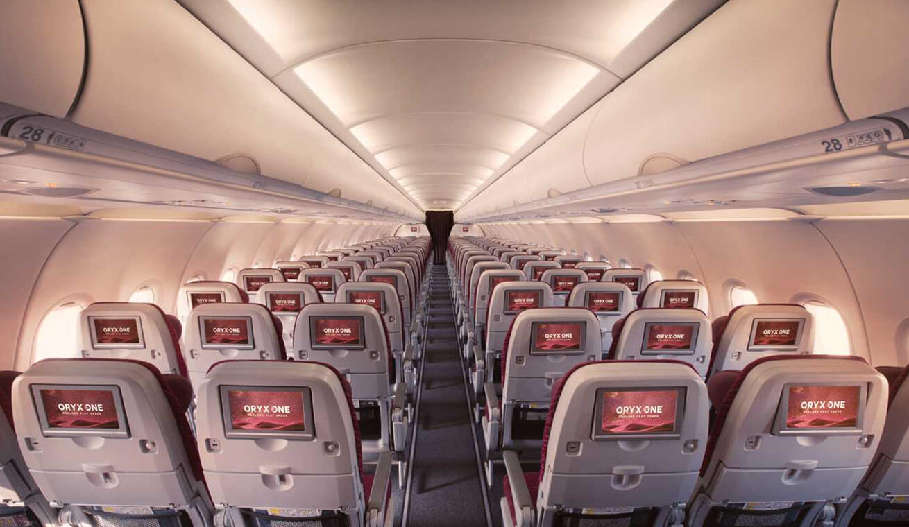 Image of Qatar Airways Airbus 320 economy class seats