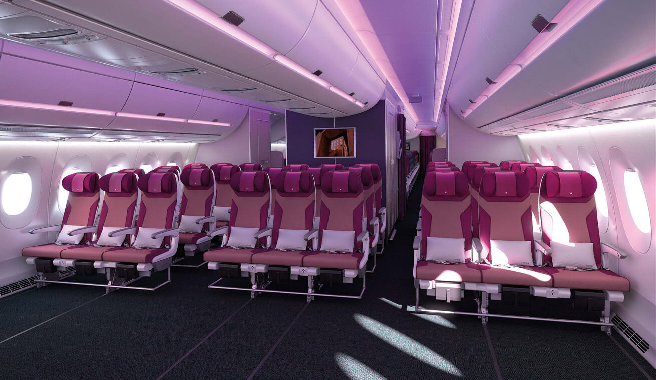 Image of  Qatar airways Airbus 350 economy class seats