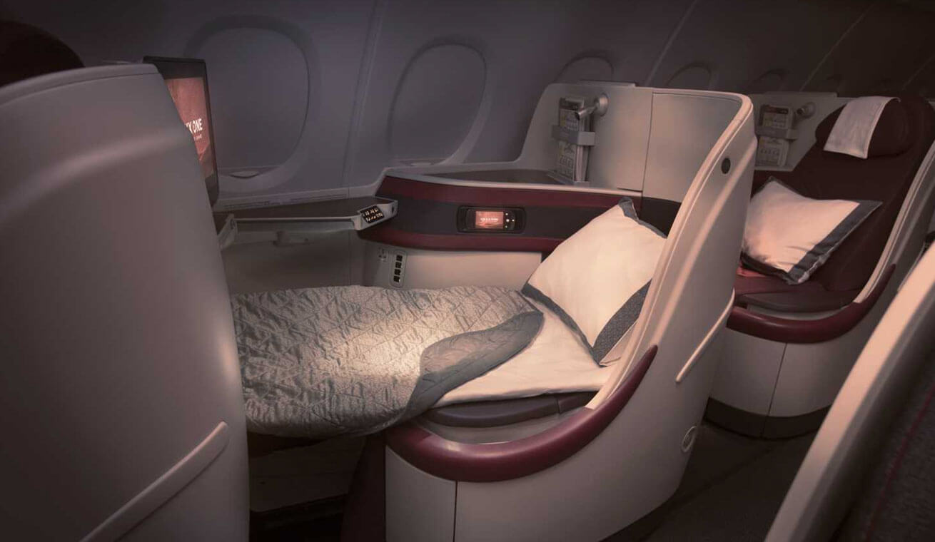 Image of Qatar Airways Airbus 380 business class seat lie flat