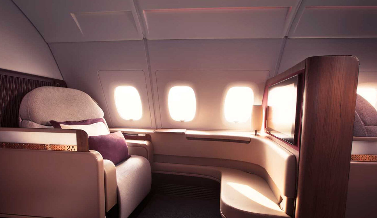 Image of Qatar Airways Airbus 380 first class