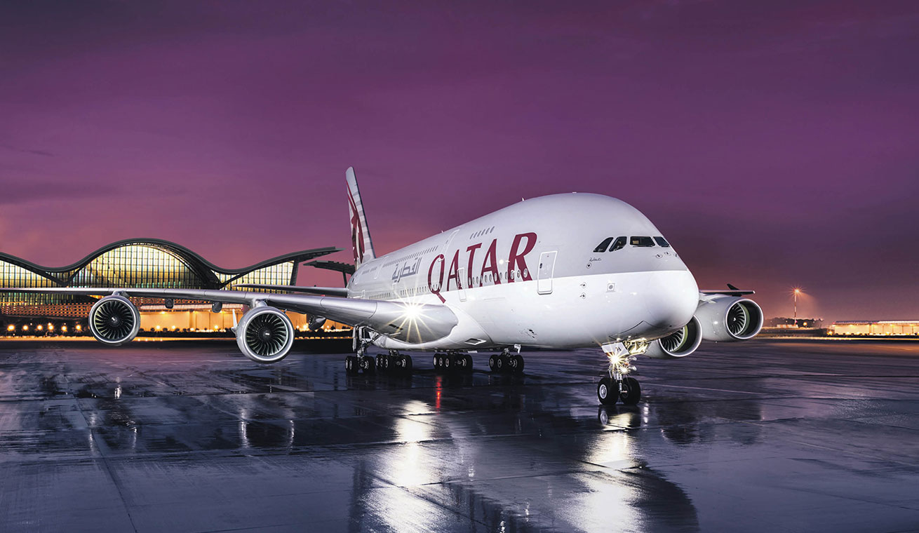 Image of Qatar Airways A380 aircraft on tarmac