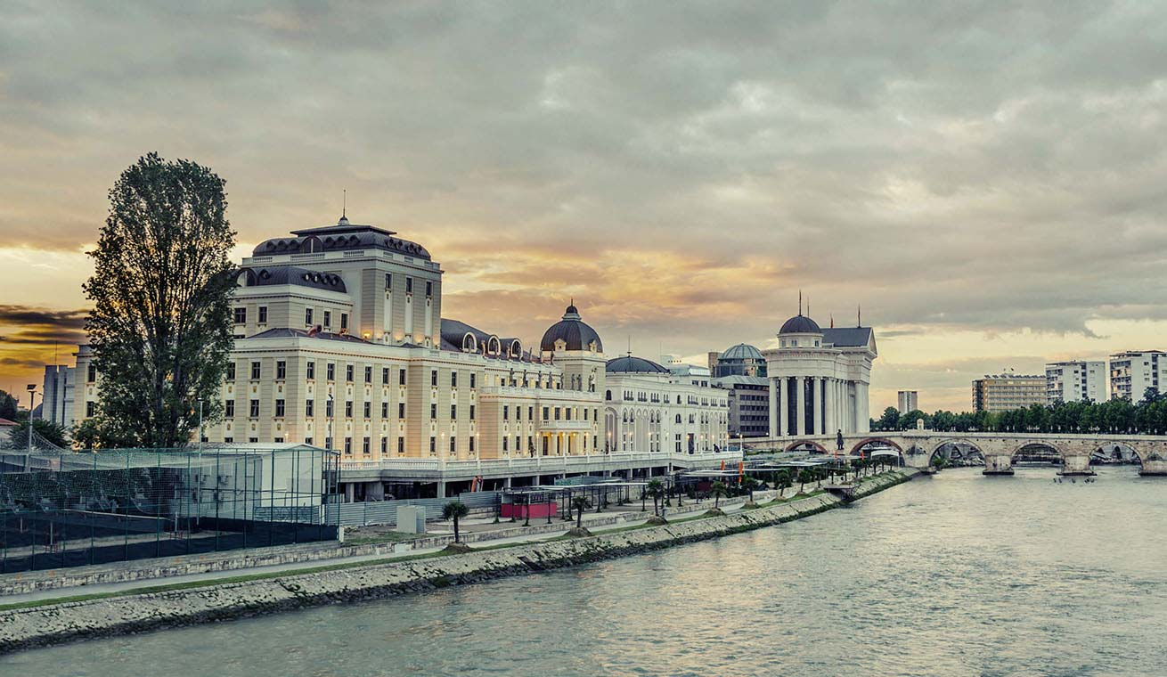 Grand buildings at the riverside in Skopje.