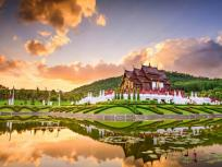 Image of a temple at the Royal Flora Park of Chiang Mai in Chiang Mai, Thailand.