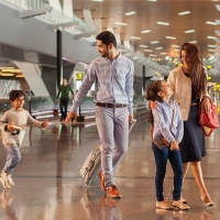 Image of a family in Hamad international Airport
