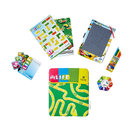Image of the activity kit presented to children on board with items branded with the LIFE game logo