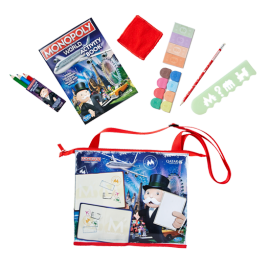 Image of the activity pack given to kids on board with Monopoly-branded items